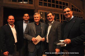 George Graham (center), Sussex County Freeholder and one of the trustees for the Friends of Waterloo, posed with attendees and supporters of the Friends of Waterloo Village, from CP Engineers & Architecture. From left to right: Steve Donati, Joe Toscano, Graham, Stan Puszcz, and Ray Roggero.