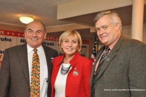 Sussex County Freeholder Richard Vohden (left) poses with Lieutenant Governor Kim Guadagno, and Sussex County Freeholder George Graham.