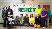 Hopatcong High School  Standing (left to right): Kim Mott, Diego Gonzales, Alex Trautman,  Marianne Bastedo, Laurie Solberg, Donna George.  Sitting (left to right): Brendan Friedman, Rebecaa Twaits, Kevin Giordano, Eugene Falconetti, Julie Wilson, Terry Trivento In Mrs. Wilson's class students created one-of-a-kind signs to display  throughout the school.