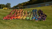 Students assembled in  the rainbow pillars wearing their Character Counts  T-Shirts, sponsored by  Hopatcong Education Association.
