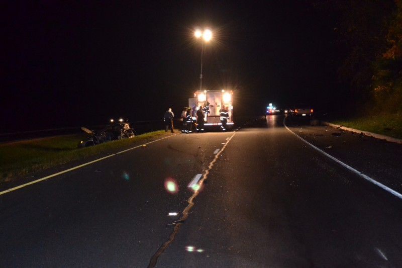 The Sparta Fire Department illuminates the scene as accident reconstructionists conduct thier investigation.  The two car crash sent three to the hospital and closed the southbound lanes of Rte. 15 for more than two and half hours early last night.  (Photo courtesy of the Sparta Police).