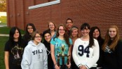 Members of the HHS Marching Chiefs pose with their trophy. From left to right- Janine Munoz, Mary Beth Marchena, Aubrey McCarrick , Alexis Mott, Stephanie Coulman, Laura Willis, Josh Hagan, Megan Kelly, Cassidy Sandry, Nikki-Anne Rosado, Keely Johnson.