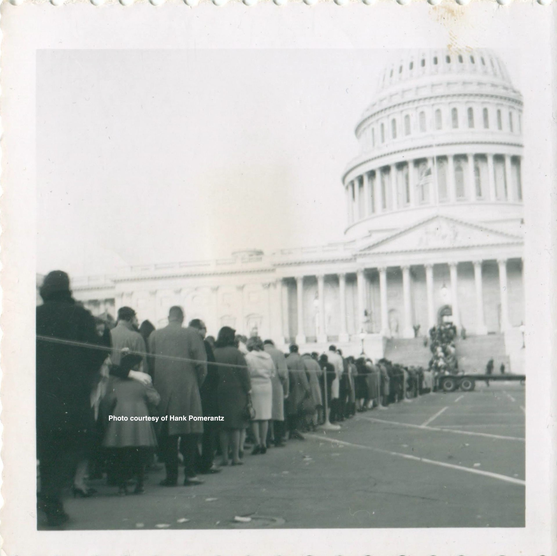 The line stretching outside to view JFK's casket. Photo by and courtesy of Hank Pomerantz.