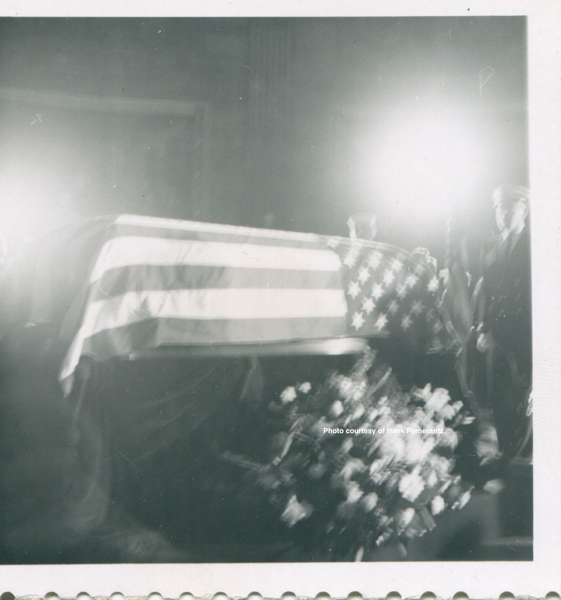 President John F. Kennedy's  casket in the Rotunda. Photo by and courtesy of Hank Pomerantz.