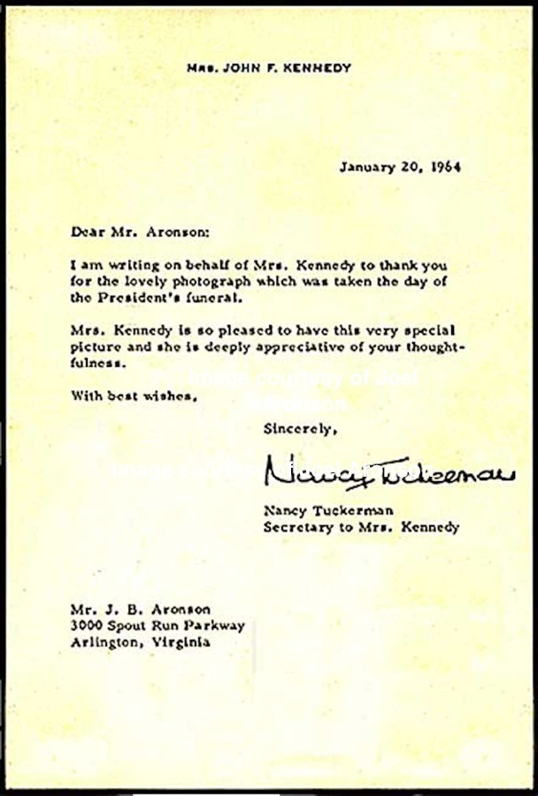 Letter from Jackie Kennedy's secretary, courtesy of Joel Aronson.