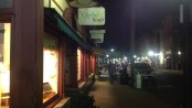 Downtown Newton at night, by Jennifer Jean Miller