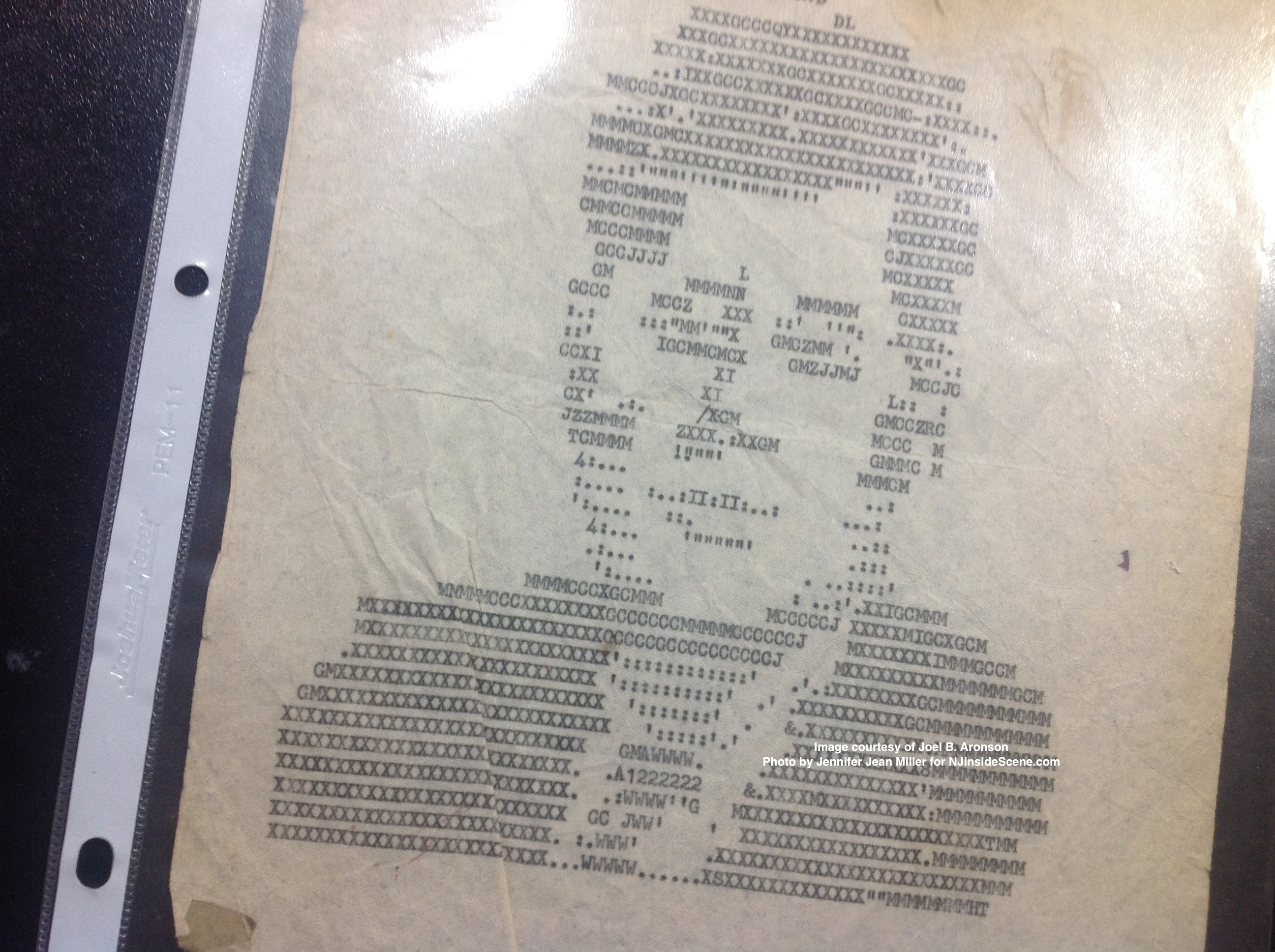 The onion skin typewriter portrait of JFK, created by an unidentified airman in Taiwan, during his presidency.