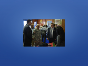 """Labor Commissioner Harold J. Wirths (right) was joined in touring the Third Annual """"Your Best Bet-Hire a Vet"""" Job Fair at the West Orange armory by Essex County Executive Joseph N. DiVincenzo, Jr. (left) and Brigadier General John Dinapoli, Deputy Adjutant General, New Jersey Army National Guard (center)."""