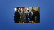 "Labor Commissioner Harold J. Wirths (right) was joined in touring the Third Annual ""Your Best Bet-Hire a Vet"" Job Fair at the West Orange armory by Essex County Executive Joseph N. DiVincenzo, Jr. (left) and Brigadier General John Dinapoli, Deputy Adjutant General, New Jersey Army National Guard (center)."