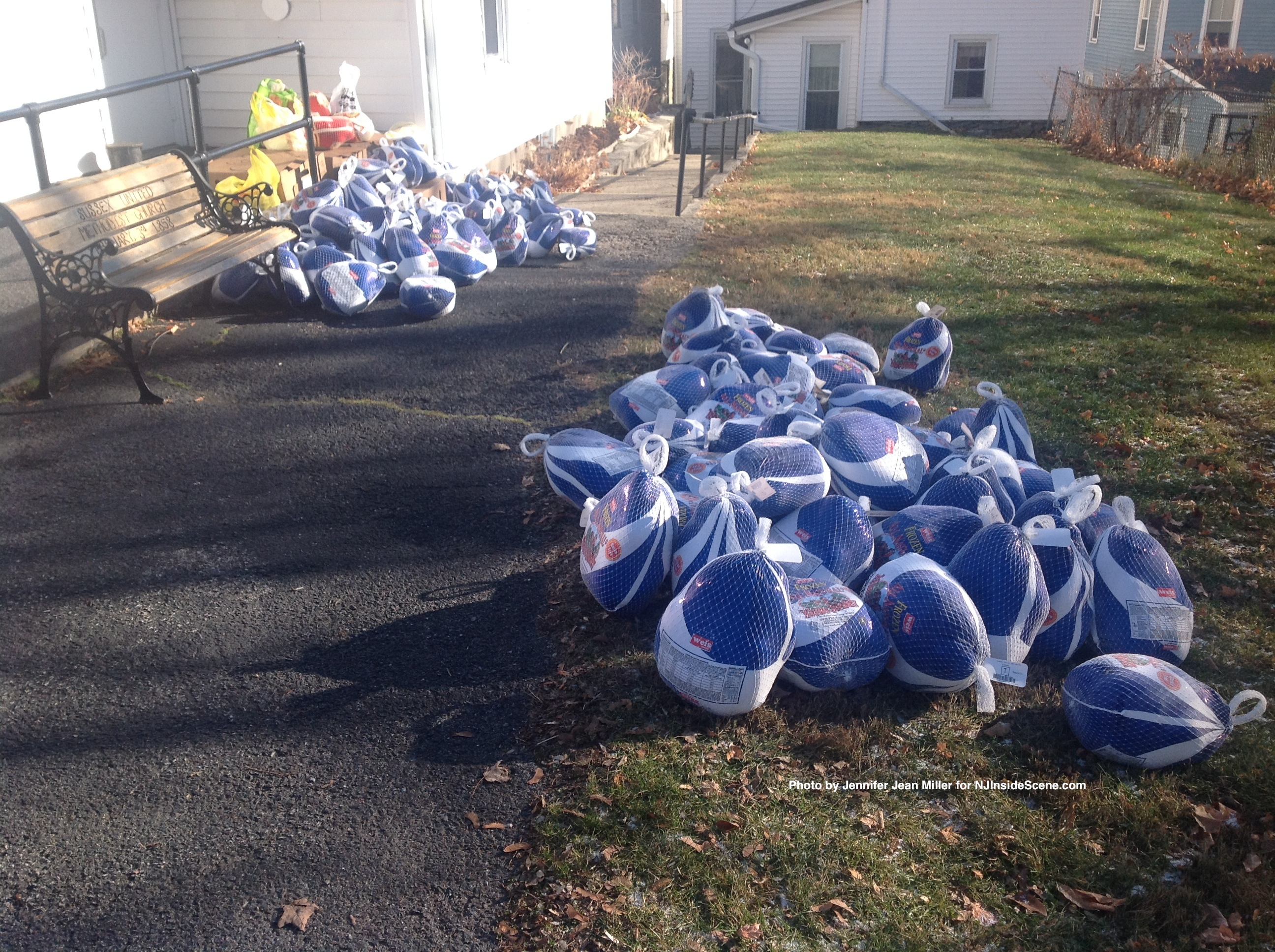 Turkeys outside of the Sussex United Methodist Church, ready to be placed into food bags.