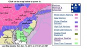 Map with weather updates, courtesy of the National Weather Service.