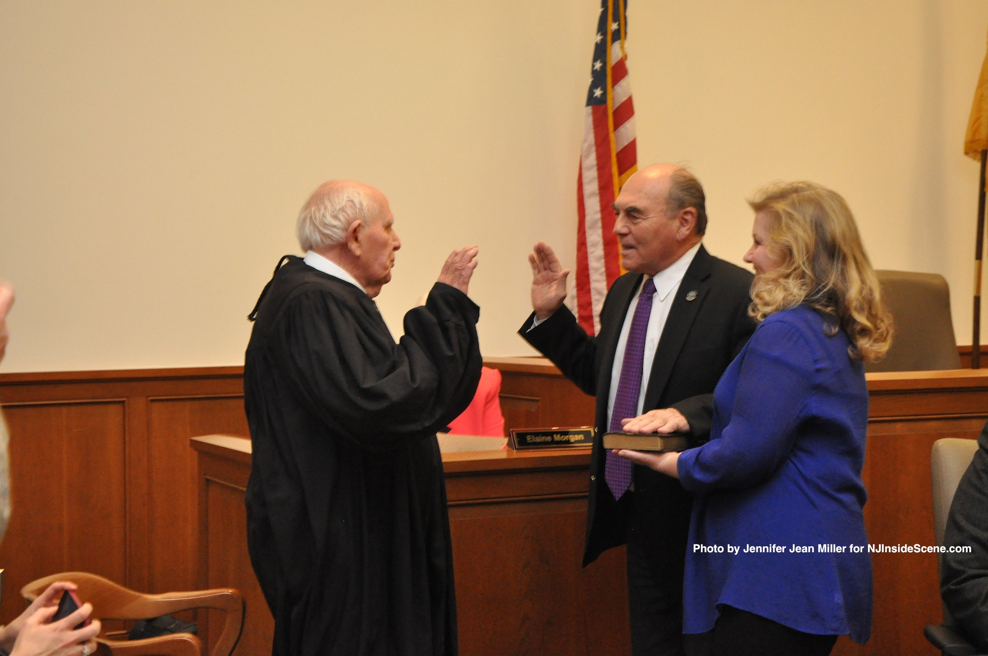 Freeholder Richard Vohden, with his wife, Faith, is sworn in for his term, by Judge Frederic Weber. Vohden was chosen by fellow freeholders as Freeholder Director, and was sworn in for that role a second time.