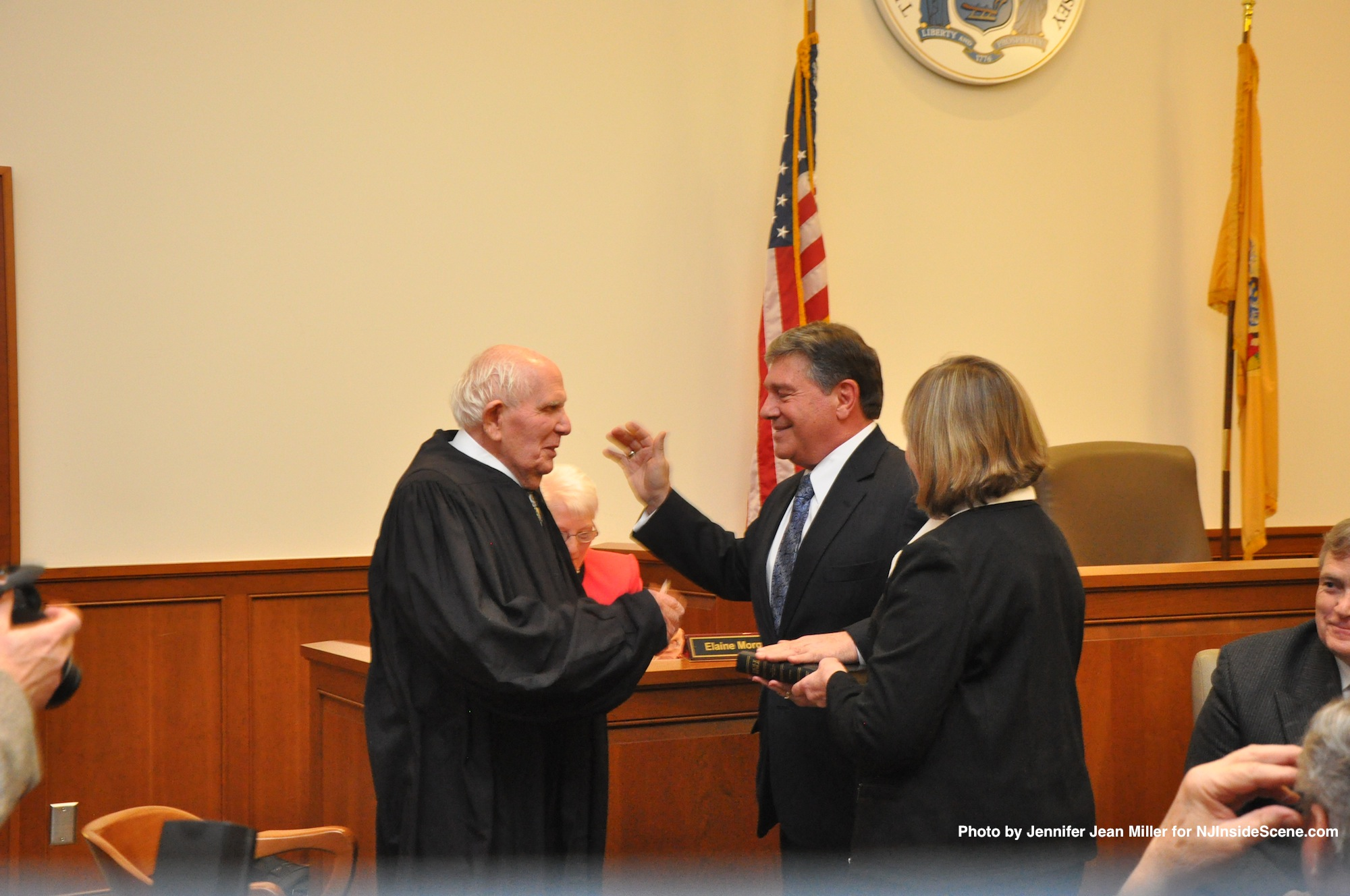 Surrogate Gary Chiusano, sworn in by Judge Frederic Weber. Laura Camp, Deputy Surrogate, participated. Chiusano's wife, Carol, was unable to attend, as she has for past swearing ins, due to a work conflict following the snowstorm.