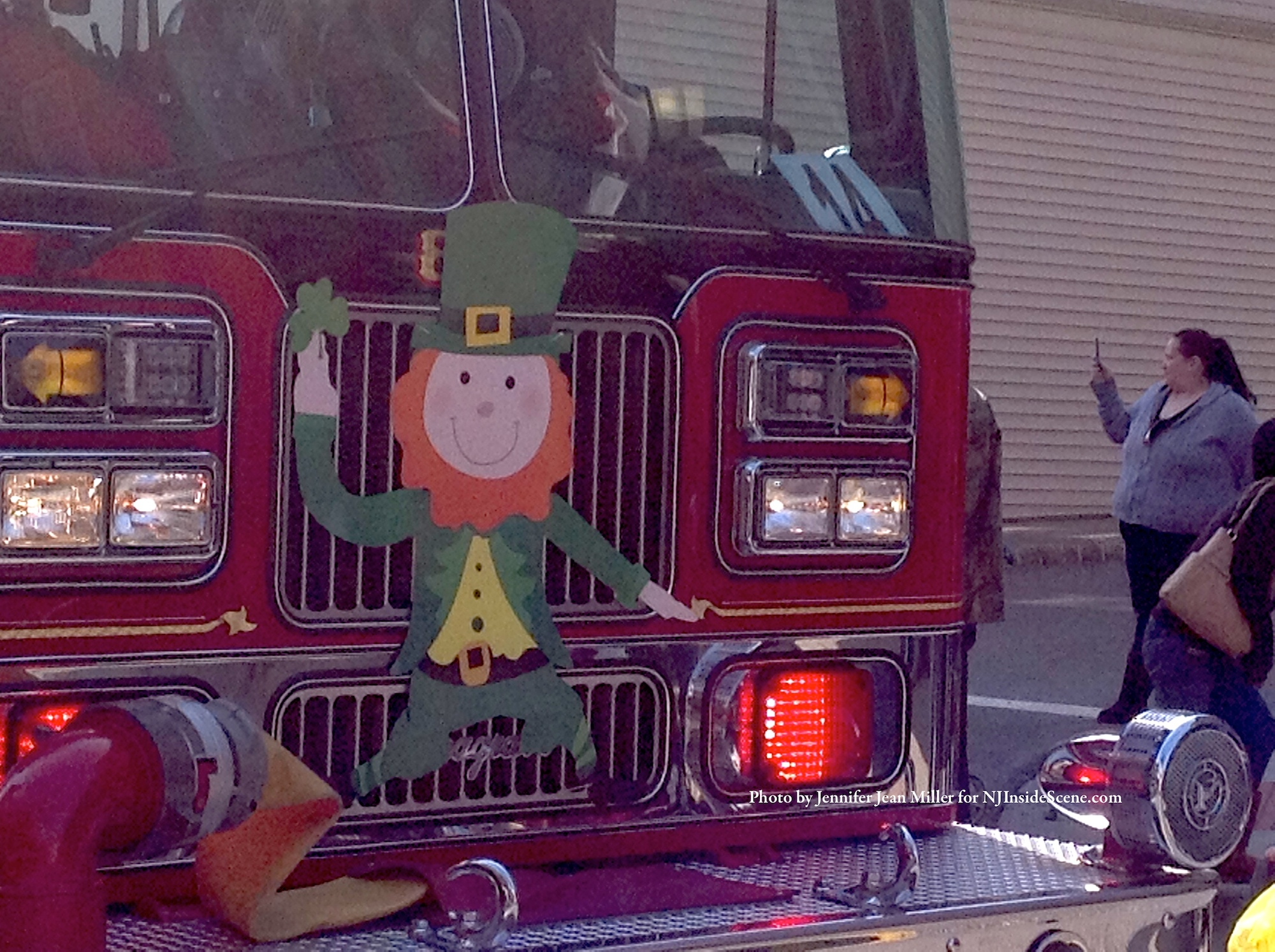 One of the fire engines sporting a leprechaun on front. Photo by Jennifer Jean Miler.