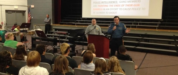 Chief Michael Richards speaks to Newton High School students. Photo courtesy of the Newton Police Department.