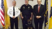 "Sheriff Michael Strada, Det. Kieran McMorrow, ""Kilo,"" and Sussex County Prosecutor David Weaver. Photo courtesy of the Sussex County Sheriff's Office."
