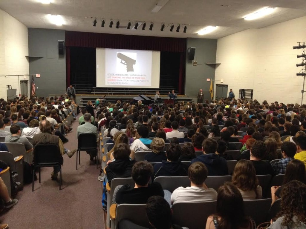 The packed auditorium at Newton High School. Photo courtesy of Police Department.
