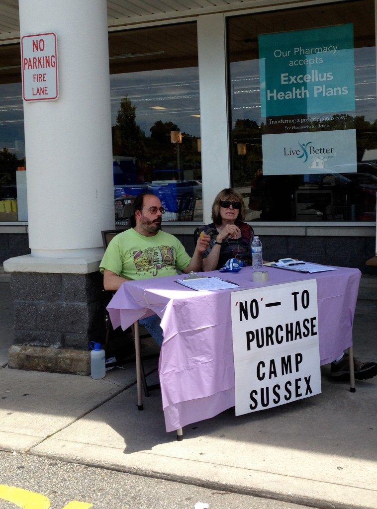 Residents by the A&P in Vernon with a petition against the town's purchase of Camp Sussex. Photo courtesy of Jessi Paladini.