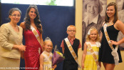 From left to right, Chair of the Miss Newton Contest Ludmilla Mecaj, Miss Newton 2014 Emilie Petry, Little Miss Newton 2014 Ayden Sipley, Little Mr. Newton 2013 Matthew Teets, Little Miss Newton 2013 Danielle Elise Penny and Miss Newton 2013 Lauren Hennighan. Photo by Jennifer Jean Miller.
