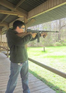 Crew Secretary Stephen Rozek shooting a Thompson. Photo courtesy of Boy Scout Venture Crew 276.