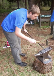Crew Vice President of Program Chris Rozek forging a arrowhead. Photo courtesy of Boy Scout Venture Crew 276.