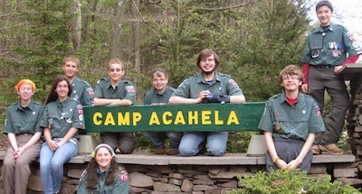 Crew Photo at Camp Acahela entrance. Courtesy of Boy Scout Venture Crew 276.