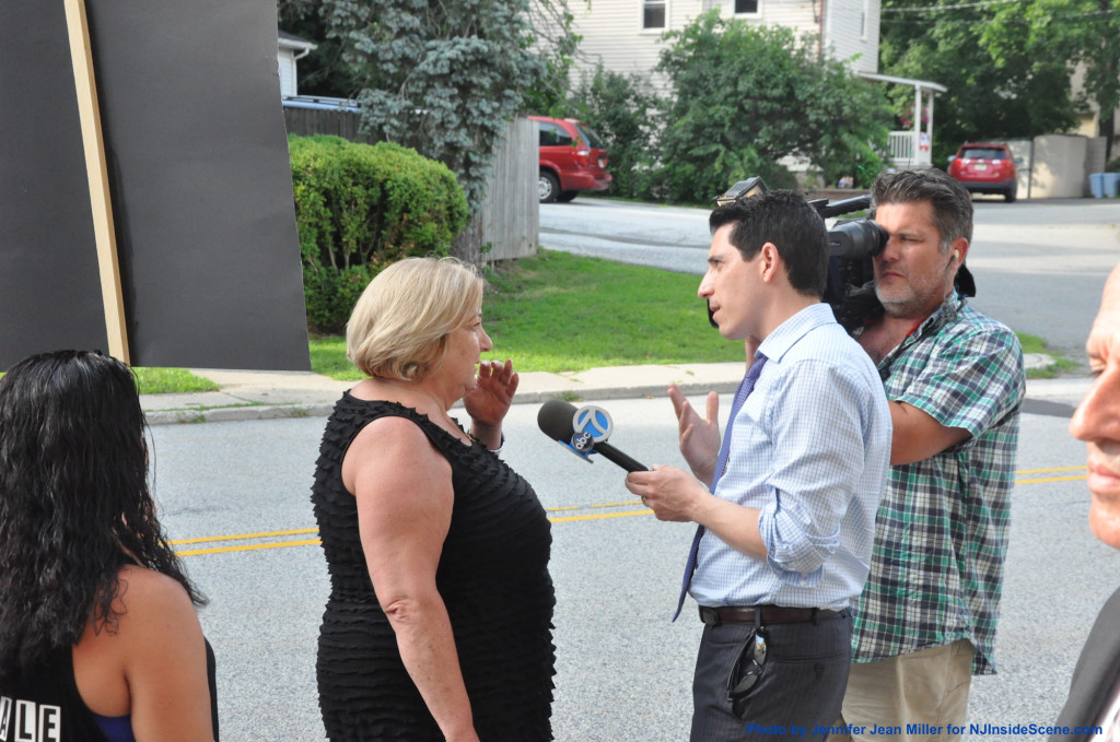 Resident Donna Arrigo as she is interviewed by Channel 7. Photo by Jennifer Jean Miller.