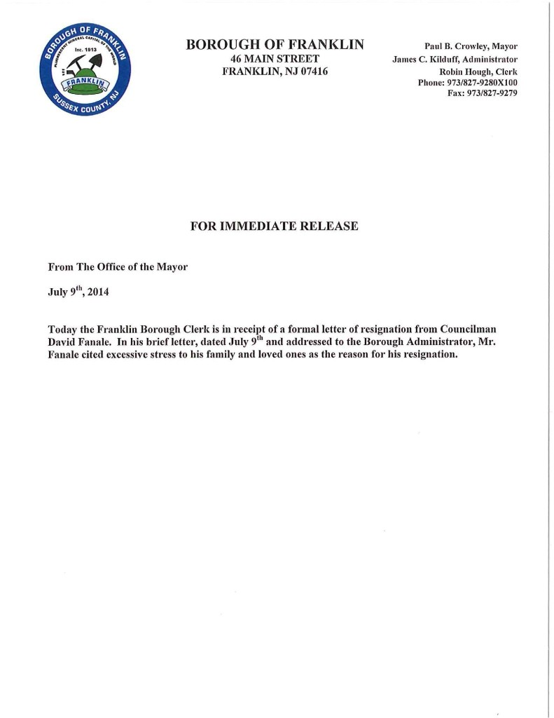 The Official Press Release from the Borough of Franklin.