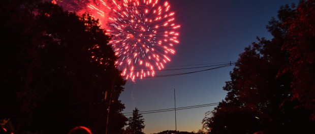 Spectators watch the fireworks from Winona Parkway, above the Lake Mohawk Plaza. Photo courtesy of Erik Aronson.