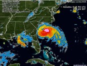 Tropical Storm Arthur, now being classified as Hurricane Arthur, in this image courtesy of Weather Underground.