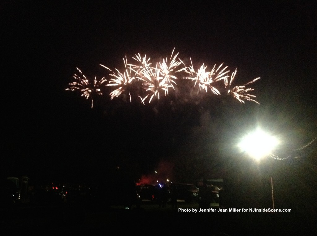 White fireworks rain over the Franklin Pond. Photo by Jennifer Jean Miller.