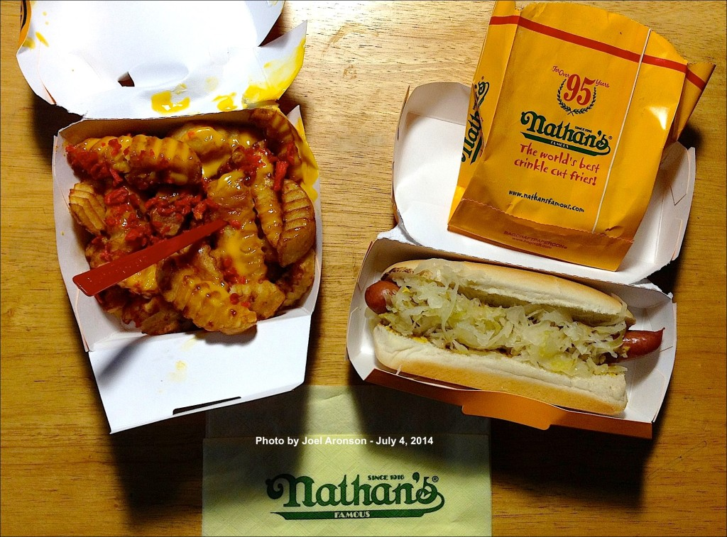 Joel Aronson celebrated July 4th Coney Island style, with a Nathan's Hot Dog and Cheese Fries. Photo courtesy of Joel Aronson.