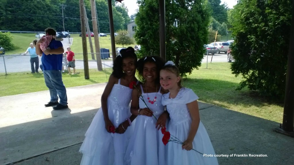 Three young ladies who participated for the crown. Photo courtesy of Franklin Recreation.