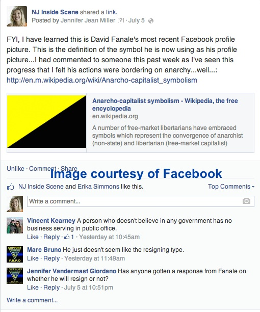 "Our post on Facebook regarding David Fanale's support of ""AnCap."""