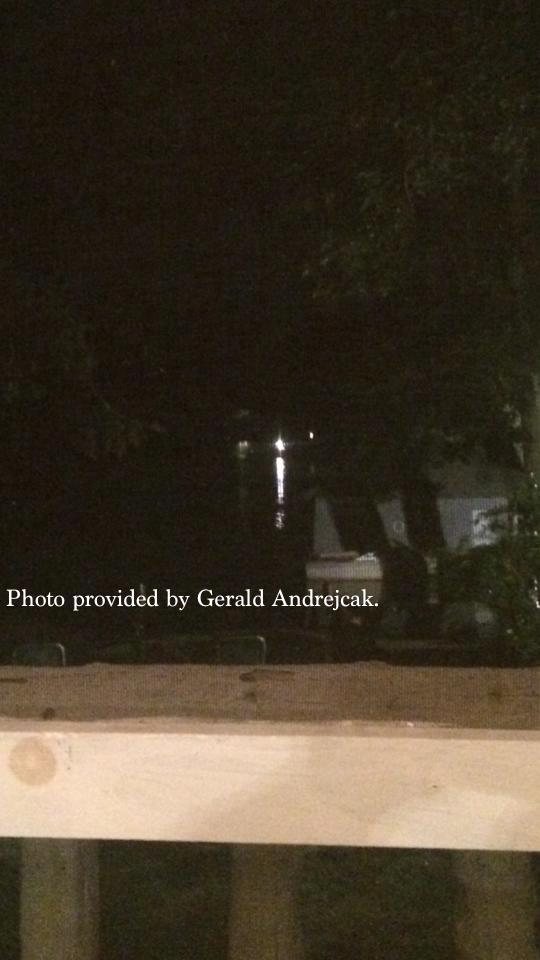 "Gerald Andrejcak supplied this photo to NJ Inside Scene of a boat that he said, spent time around the site where the snake was spotted for lengths of time on several occasions, and was last spotted the evening before the DEP called the snake in the lake a ""hoax."" Photo courtesy of Gerald Andrejcak."