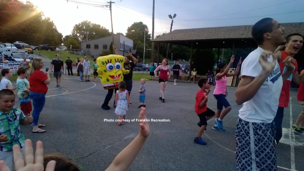 Spongebob dancing among some of the youngsters at the event. Photo courtesy of Franklin Recreation.