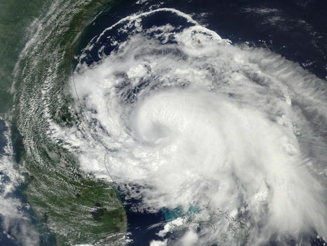 A satellite view of Arthur, courtesy of Weather Underground.