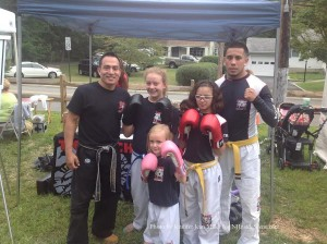 Head Instructor Joshu David Castro (left) with a group from Tiger Schulmann's Mixed Martial Arts.
