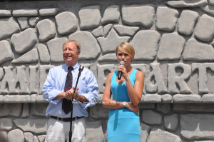 Chris and Maria Maier, owners of Land of Make Believe, thank the crowd for their support. Photo by Jennifer Jean Miller.