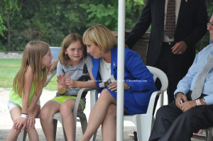 Molly McHose and Cameron Ecke seated with Acting Governor Kim Guadagno. Photo by Jennifer Jean Miller.
