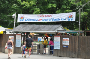 The entry to Land of Make Believe with the celebratory banner. Photo by Jennifer Jean Miller.