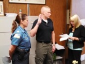 Daniel Kern sworn in to the Hopatcong Borough Police Department. Photo courtesy of the Hopatcong Borough Police Department.