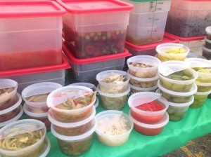Pickled items and olives for sample at the Hopatcong Farmers' Market. Photo by Jennifer Jean Miller.