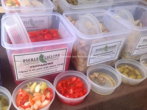 Peppadews, mushrooms, and other items for sampling at the Blairstown Farmers' Market. Photo by Jennifer Jean Miller.