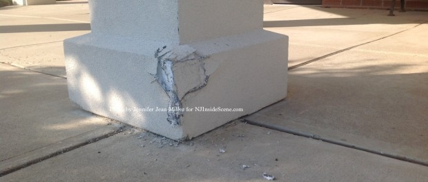 A drunk driver damaged a number of columns at the Newton Municipal Building, including this one. Photo by Jennifer Jean Miller.
