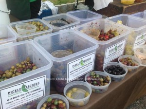 Olives and other delectables for sampling from Pickle Licious. Photo by Jennifer Jean Miller.