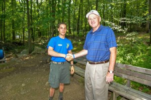 Chuck Roberts (right) with Eagle Scout Ryan Gallagher at summer camp. Photo courtesy of the Boy Scouts of America, Patriots' Path Council.