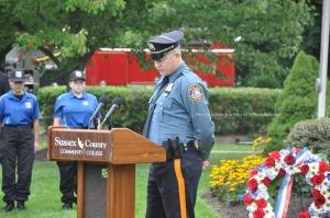 Scott King, President of PBA Local 138 speaks at the ceremony. Photo by Jennifer Jean Miller.