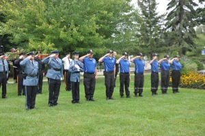 Members of the Sussex County Explorers stand at attention. Photo by Jennifer Jean Miller.