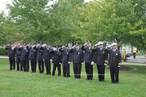 Members of the Newton Fire Department during the service. Photo by Jennifer Jean Miller.